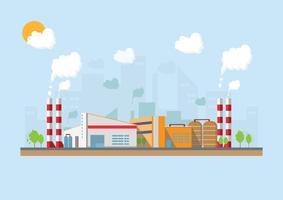 Industrielle Fabrik in einer flachen Art. Vektor und Illustration des Herstellungsgebäudes.