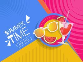 Hello summer banner with beach elements