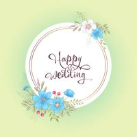 Watercolor template for a birthday wedding celebration with flowers and space for text. Hand drawing. Vector illustration