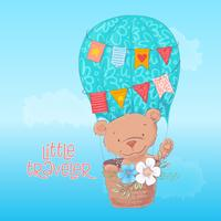Postcard poster of a cute bear in a balloon with flowers in cartoon style. Hand drawing.