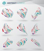Set of modern style abstract with composition made of various lines wrapping circle 3d rounded shapes in colorful twisted.
