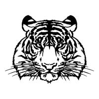 Tiger head drawing silhouette vector.