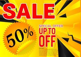 Sonderangebot des Vektorfahnen-Verkaufs. Abstrakter schwarzer und gelber Farbhintergrund. Design Konzept