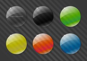 Set of multicolored lenses made of glass or plastic. RGB colors. Vector graphics with transparency effect