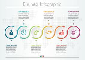 Präsentationsvorlage Business Infografik mit 6 Optionen.