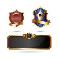 Design retro escudo dourado