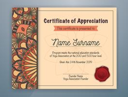 Brown Mandala Bordered Certificate of Appreciation Template Design