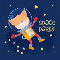 Postcard poster of cute astronaut fox in space with constellations and stars in cartoon style. Hand drawing.