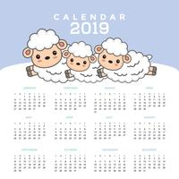Calendar 2019 with cute sheep cartoon.