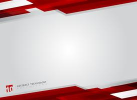 Abstract technology geometric red color shiny motion background. vector