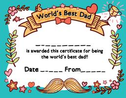 World's Best Dad Award Certificate Template For Father's Day vector