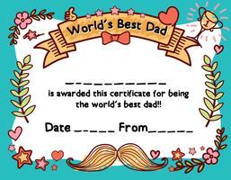 Modello di certificato del premio del papà migliore del mondo per la festa del papà