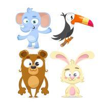 Set av djur, kanin, björn, elefant och tucan.