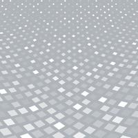 Abstract halftone white square pattern perspective on gray background.
