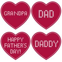 Father's Day cross stitch embroidery on red hearts