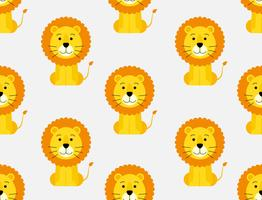 Seamless pattern of cute cartoon lion background