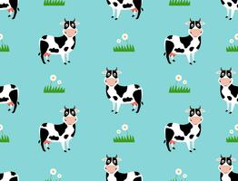 Seamless pattern with cute cow cartoon on field background- Vector illustration