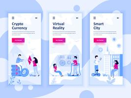 Set of onboarding screens user interface kit for Cryptocurrency, Smart City, Virtual Reality, mobile app templates concept. Modern UX, UI screen for mobile or responsive web site. Vector illustration.