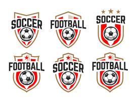 Emblemi di vettore classico di calcio impostati