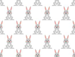 Seamless pattern of cute cartoon rabbit on white background - Vector illustration