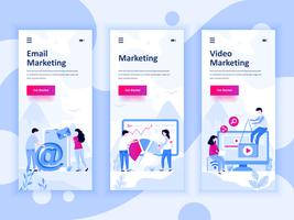 Set di kit di interfaccia utente per schermi onboarding per Video, Email, Digital Marketing, concetto di modelli di app per dispositivi mobili. UX moderno, schermo dell'interfaccia utente per sito web mobile o reattivo. Illustrazione vettoriale
