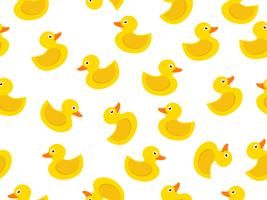 seamless pattern of yellow rubber duck on white background