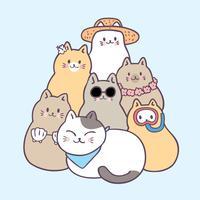 Vector lindo de los gatos del verano de la historieta.