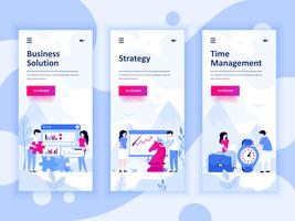 Set of onboarding screens user interface kit for Solution, Strategy, Time Management, mobile app templates concept. Modern UX, UI screen for mobile or responsive web site. Vector illustration.