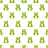 Seamless pattern cute green frog cartoon character isolated on white background