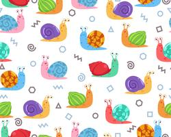 Seamless pattern of cute snail with doodle geometric shape on background - Vector illustration