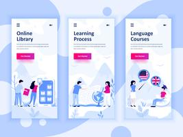 Set of onboarding screens user interface kit for Library, Learning, Language Courses, mobile app templates concept. Modern UX, UI screen for mobile or responsive web site. Vector illustration.