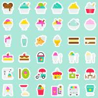 Ice cream vector icon set, sticker style