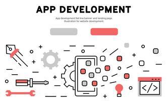 App-ontwikkeling platte lijnbanner en bestemmingspagina. Illustratie voor website-ontwikkeling