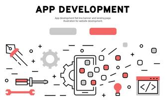 App development flat line banner and landing page. Illustration for website development