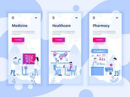 Conjunto de kit de interface de usuário de telas onboarding para medicina, cuidados de saúde, farmácia, conceito de modelos de aplicativo móvel. Modern UX, tela de interface do usuário para site móvel ou responsivo. Ilustração vetorial
