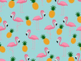 Seamless pattern of flamingo with pineapple on pastel background - Vector illustration