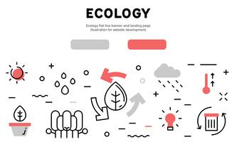 Eco friendly concept flat line banner and landing page. Illustration for website development