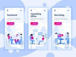 Set med inbyggda skärmar användargränssnitt för Teamwork, Coworking Office, Rekrytering, mobil app templates koncept. Modern UX, UI-skärm för mobil eller mottaglig webbplats. Vektor illustration.