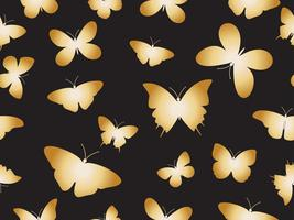 Vector illustration seamless gold butterflies pattern background