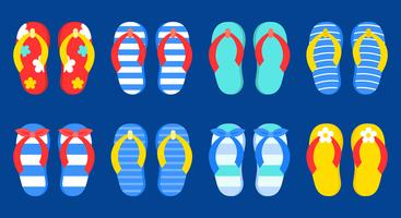 Set of Colorful Summer Flip-flops vector icons