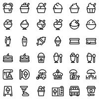 Ice cream vector icon set, outline style