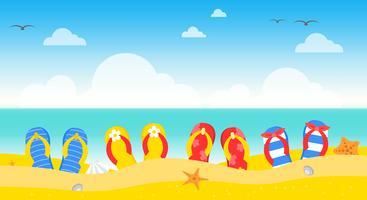 Sommerferien, Sommerstrandplakat-Vektorillustration