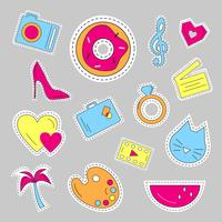 Cute colorful patch set. vector