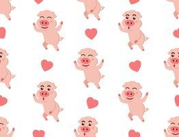 Sömlös mönster söt piggy med hjärtan på vit bakgrund - Vektor illustration