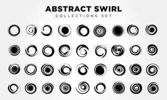 abstract circle swirl set vector