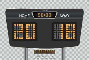 Digital timing scoreboard, Sport soccer and football match Home Versus Away.