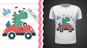 Gullig dino med bil - idé för tryckt t-shirt