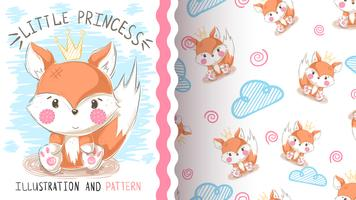 Cute teddy fox - seamless pattern vector