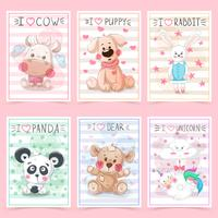 Set teddy animals. Idea for greeting card.