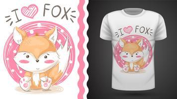 Gullig räv - idé för tryckt-shirt.